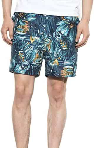 ac8ce88a85e XINDEEK Men Beach Pant Swim Trunks Loose Drawstring Follower Print Quick  Dry Summer Holiday Party Board