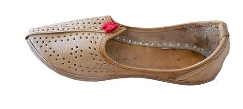 Kalra Creaciones Hombres de Piel de Tradicional Indio para Hombre Zapatos, Color Marrón, Talla