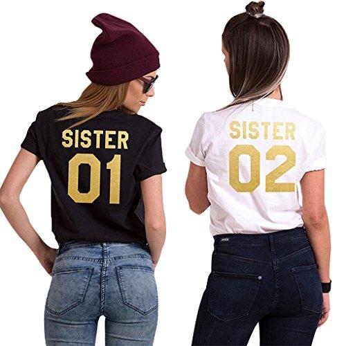 Minetom 02 T 02 Grigio Stampa Tops Cime 01 Magliette Donna Corta Bianca Tee Tunica Manica Estive Casuale Sister Best Shirt Friend Moda q1rdqH