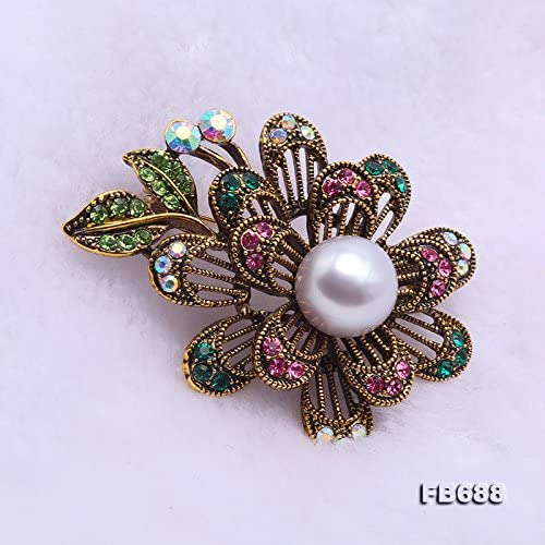 JYX Pearl Flower Brooches Pins Beautiful Flower-Shape 11mm Gray Pearl Brooch Pin for Women