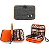Electronics Organizer, Jelly Comb Electronic Accessories Cable Organizer Bag Waterproof Travel Cable Storage Bag Charging Cable, Cellphone, Mini Tablet (up to 7.9) More (Orange Grey)