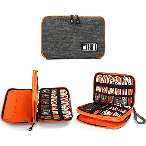 Electronics Organizer, Jelly Comb Electronic Accessories Cable Organizer Bag Waterproof Travel Cable Storage Bag for Charging Cable, Cellphone, Mini Tablet (Up to 7.9) and More (Orange and Grey)