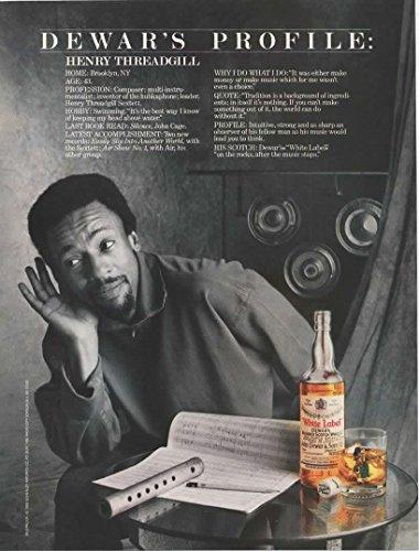 Magazine Print Ad: 1988 Composer Henry Threadgill for Dewar's White Label Blended Scotch Whisky,