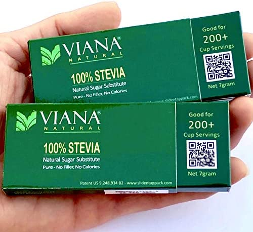VIANA STEVIA – Guaranteed 100 Pure Granular Stevia Extract Rebaudioside-A Reb-A 97 , NO FILLERS, Pocket Size Pack, Diet Weight Loss Aid – Pack of 2