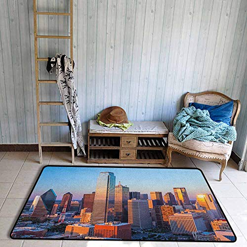 Collection Area Rug,United States Dallas Texas City with Blue Sky at Sunset Metropolitan Finance Urban Center,Ideal Gift for Children,4'11