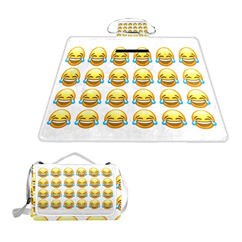 The Face with Tears of Joy Emoji Picnic Mat 57