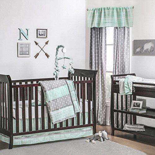 Straight and Arrow Mint & Grey Baby Crib Bedding - 20 Piece Nursery Essentials Set