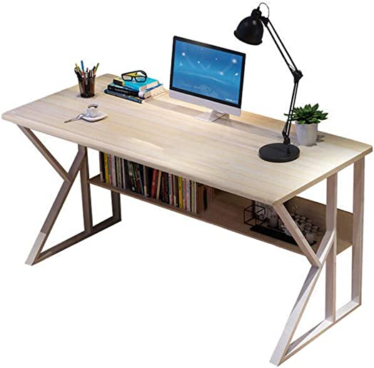 Simple Computer Desk with Bookshelf, Student Writing Desktop for Small Spaces, Wood Look Accent Furniture by Mostbest A A