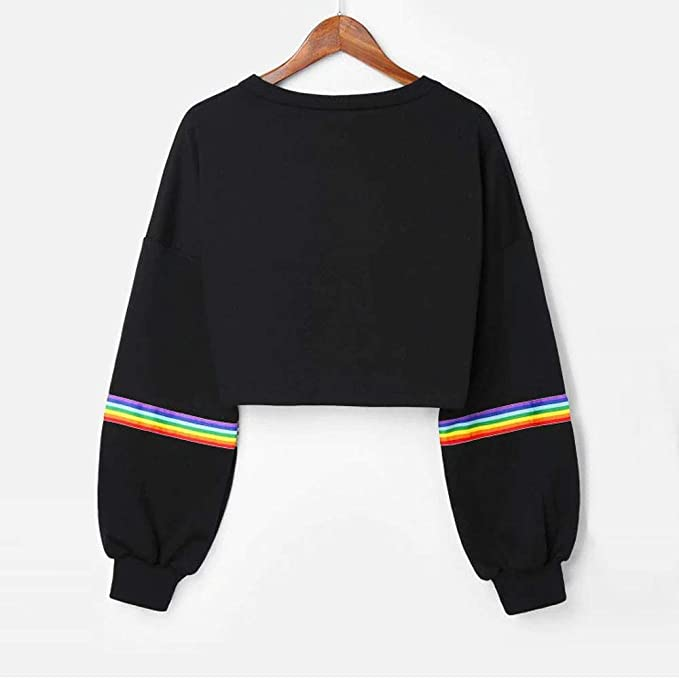 HOSOME Women Sweatshirt Jumper Long Sleeve Striped Crop Short Black Pullover Top at Amazon Womens Clothing store: