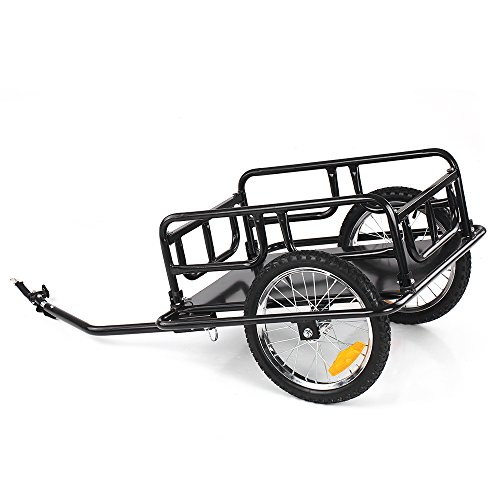 IKAYAA Folding Bike Cargo Trailer Hand Wagon Bicycle Luggage Trailer Storage Cart Carrier with Detachable Metal Frame Hitch by IKAYAA (Image #1)