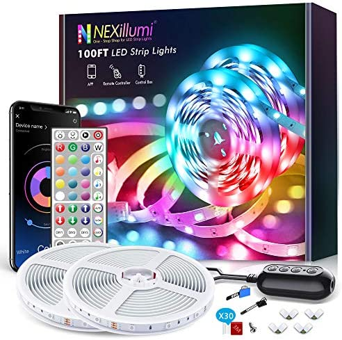 100ft Smart LED Strip Lights Bluetooth with Remote, Fussion LED Lights for Bedroom with Remote Music Sync, Room Christmas Decoration(100Ft APP+ Remote+ Mic Control)