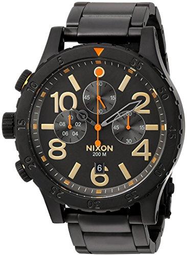Nixon Men's '48-20 Chrono' Quartz Metal and Stainless Steel Watch, Color:Black (Model: A4861032-00)