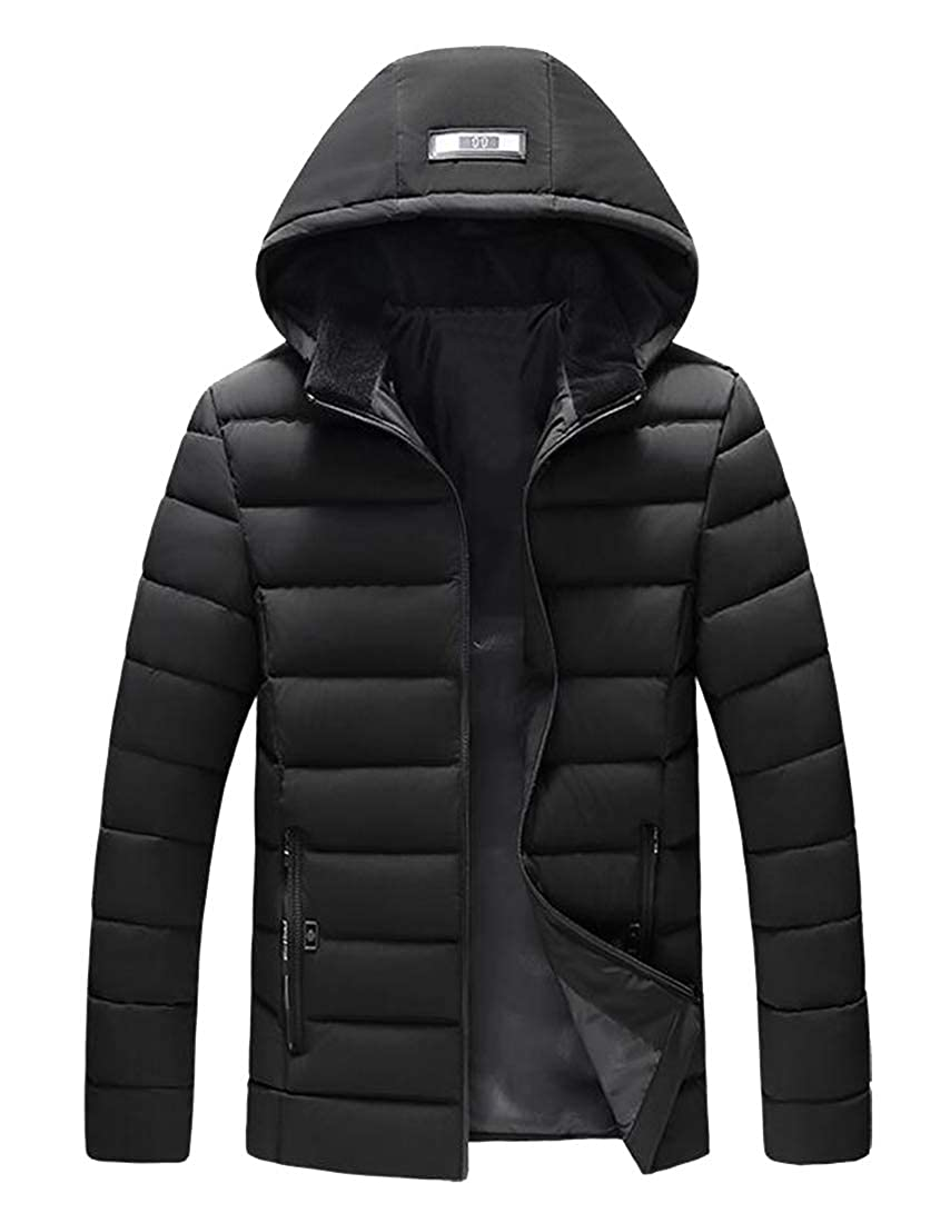 FSSE Mens Thickened Winter Zip Front Regular Fit Hooded Down Quilted Coat Jacket Overcoat