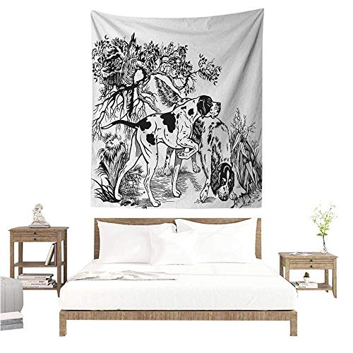 WilliamsDecor Wall Tapestry Hunting Hunting Dogs in The Forest Monochrome Drawing English Pointer and Setter Breeds 70W x 93L INCH Suitable for Bedroom Living Room Dormitory ()