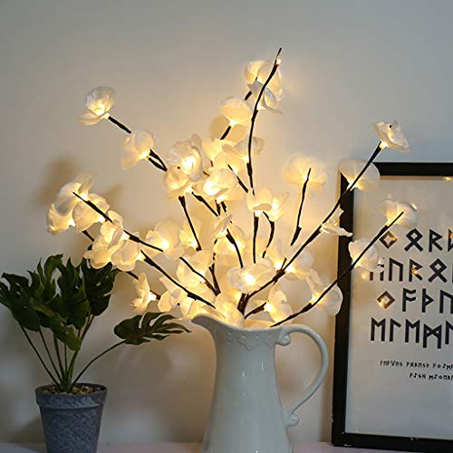 m·kvfa Warm LED Phalaenopsis Flower Lights Willow Branch Lamp 20 Bulbs Floral Twig Lights Home Christmas Holiday Festival Party Garden Decor (White) from *m·kvfa* Lights