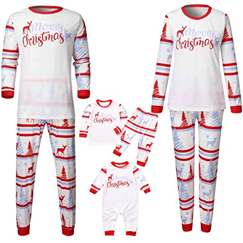 Family Matching Christmas Pajamas Set,Crytech Cute Fawn Pattern Infant Baby Romper Xmas Deer Sleepwear Pj Outfit for Parent Children Women Men Toddler Kids Winter Fall Clothes (12-18 Months, Newborn)