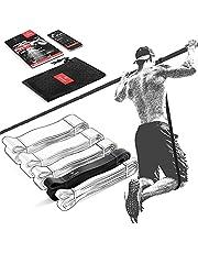 Motståndsband Räckhäv Fitness Resistance Bands + Träning e-Bok, Dra Upp Fitnessband   Hemmagym Equipment, Styrka Träna Gymnastisk, Chin-Pull-Up Bar, Elastiskt Träningsband Gym Workout Man Kvinna