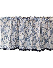 FANQ Tier Curtain, Short Curtains with Blue Tassel, Blue Floral Pattern Cafe Curtain, Beige Valances, Pastoral Style Half Curtain for Kitchen