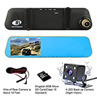 """TENNBOO Mount Front and Rear Dash Cam with 4.3"""" Full HD 1080P Mirror Screen,170°Wide Angle Dual Lens Car DVR and 140°Water-Proof Back Camera,8GB Micro SD Card Included (q14)"""