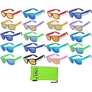 20 Pieces Per Case Wholesale Lot Glasses Assorted Colored Frame Bulk Sunglasses Mirror Lens Party Glasses Supplier