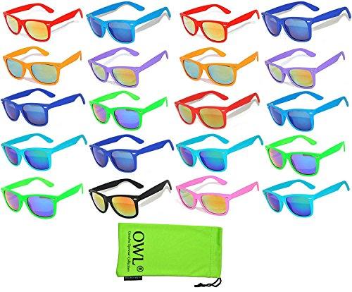 20 Pieces Per Case Wholesale Lot Glasses Assorted Colored Frame Bulk Sunglasses Mirror Lens Party Glasses Supplier for $<!--$32.99-->
