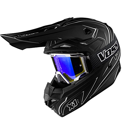 Off Road Motocross Graphic Helmet - Voss X1 Pro Magneto Graphic Motocross Helmet with Quick Release and Dusty Black Goggles Blue lens set - XL - Two Tone Stealth