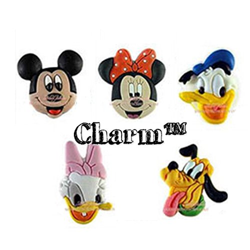 Disney Mickey Minnie Mouse Jibbitz (Generic) Set of 5 PVC Jibbitz Crocs Natives Party Favors by (Mouse Shoe Charms)