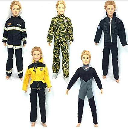 4b4e4c034 5 Set Winter Dress army combat Uniform jumpsuits Outfit for Ken doll  Clothes For Barbie Boyfriend