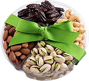 Nut Cravings Holiday Christmas Medium Gourmet Food Nuts Gift Basket, 4-Section Holiday or Anytime Assorted Nuts Gift Basket