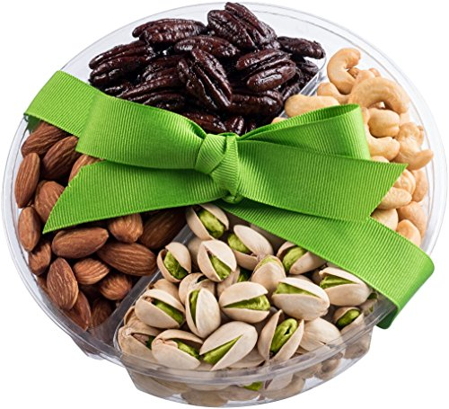 Nut Cravings Holiday Gourmet Nuts Gift Baskets | Medium 4-Sectional Delicious Variety Mixed Nuts Prime Gift | Healthy Fresh Gift Idea For Christmas, Thanksgiving, Mothers & Fathers Day, And ()
