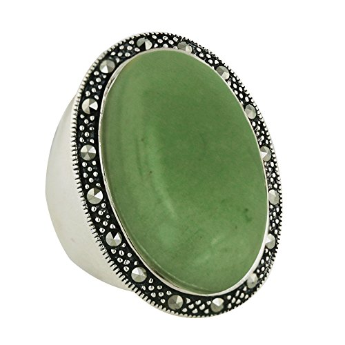 .925 Sterling Silver with Marcasite Oval Shaped Natural Green Jade Ring (7) - Green Marcasite Ring