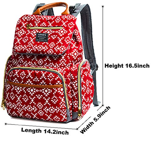 Baby Diaper Bag Backpack, Waterproof Nappy Bags, Large Travel Gear, Folk Red