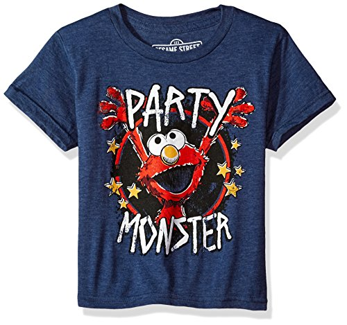 Boys' Elmo T-Shirt, Navy Heather, 5/6 (Elmo Birthday Shirt)