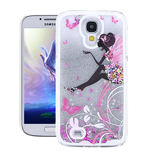 Galaxy S4 Case,Samsung S4 Case,EMAXELER 3D Creative Angel Girl Flowing Liquid Floating Bling Shiny Liquid Polycarbonate Hard Case for Samsung Galaxy S4+Stylus Pen,Waving Wing Girl--Silver Liquid