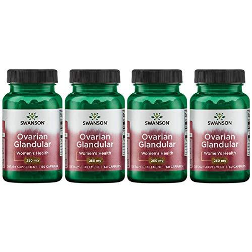 Swanson Ovarian Glandular Women s Hormone Ovarian Health Hormonal Balance Support Supplement 250 mg 60 Capsules 4 Pack
