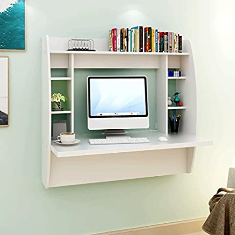 DEVAISE Wall Mounted Floating Desk with Storage / White