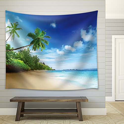 Island with Palm Trees by the Beach Shore on a Clear Sunny Day Fabric Tapestry