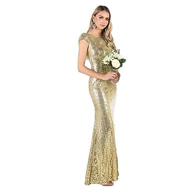 Deylaying Vestido de Fiesta de Noche Elegante Dorado con ...