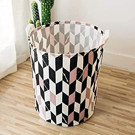 Cotton and Hemp Geometric Marble Bucket Cotton and Hemp Round Bucket,Pink Dirty Clothes Basket