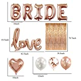 Bridal Shower & Bachelorette Party Decorations kit Rose Gold – Set includes 1 Fringe Curtain, 1 set of BRIDE balloons, 1 Love balloon, 2 Heart balloons, Latex 4 White 4 Rose Gold & 4 Confetti balloons