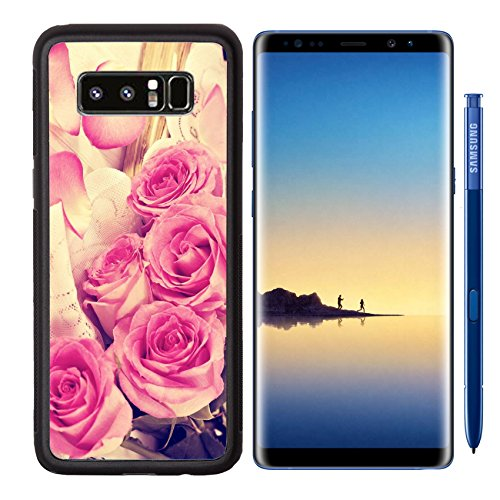 MSD Premium Samsung Galaxy Note8 Aluminum Backplate Bumper Snap Case IMAGE 30116710 bouquet of pink roses old book on a wooden background in vintage style