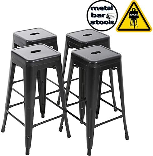 FDW Counter Height Bar Stools Set of 4 Bar Stools 30 Inches Metal Stool Patio Stool Stackable Barstools Kitchen Counter Stool Indoor Outdoor Stool Metal Bar Stools Moden Dining Chairs