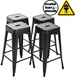 """FDW Bar Stools Counter Stool Barstools 30""""Height Industrial Bar Chairs Set of 4 Stackable Modern Backless Indoor/Outdoor Metal Bar Kitchen Counter Stools Chairs"""