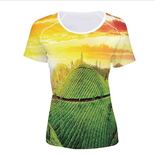 T-Shirt,Sunset Country Style Nature Asian Organic Tea,Women 3D Print
