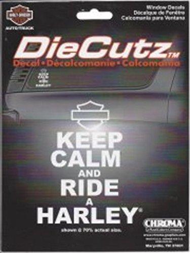 Chroma 40010 White Harley-Davidson Keep Calm and Ride Die Cutz Decal