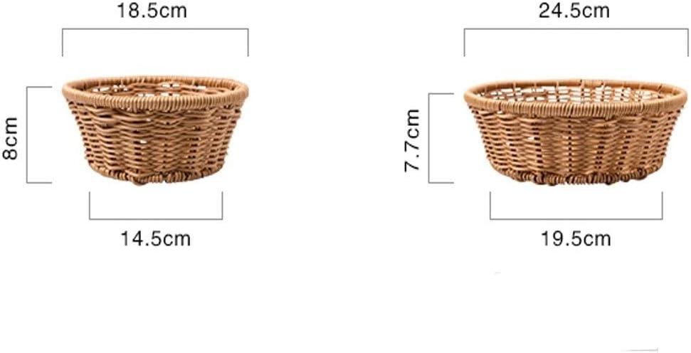 MEIYUFUZHUANG-A パンバスケット、ブラウンヴィンテージ手織りのパンバスケット、ホームキッチンストレージ果物や野菜パンバスケット ピクニックバスケット、フルーツバスケット、ストレージ、キッチンリークバスケット (Size : L)