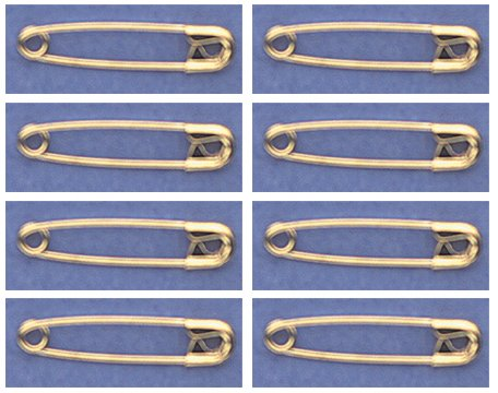 "SAFETY PINS Size 0 (7/8"") GOLD TONE BULK PK/100 Made in USA"