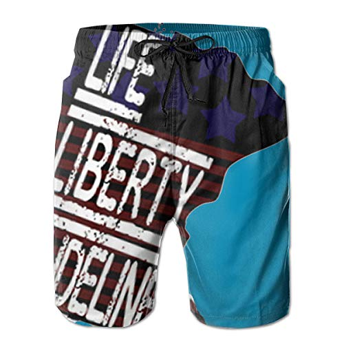 Life, Liberty, Dudeliness Patriot Men's Swim Trunk White ()