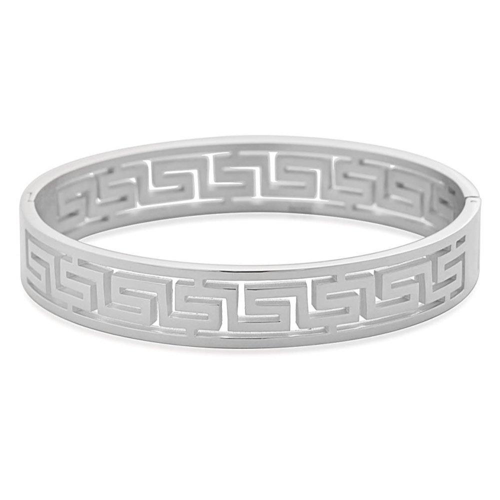EDFORCE Stainless Steel Women's Greek Pattern Oval Cutout Hinged Bangle Bracelet (Silver)