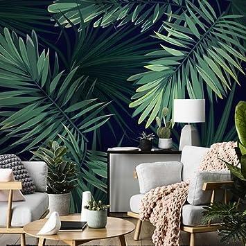 JING DIAN-Papier peint Plantes Vert Forêt Tropicale 3D Wallpaper ...